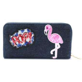 Portemonnee flamingo denim