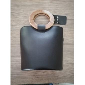 Schouder tas Zwart met houten greep