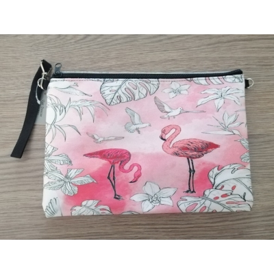 Toilet / make-up tasje Flamingo roze